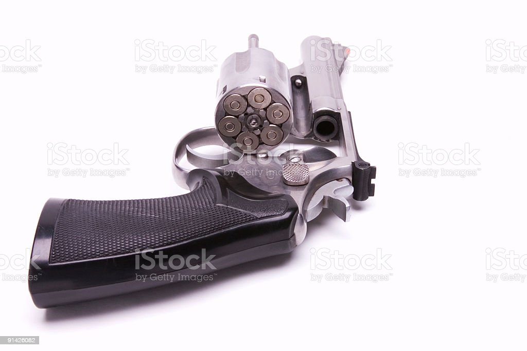 Revolver with loaded cylinder stock photo