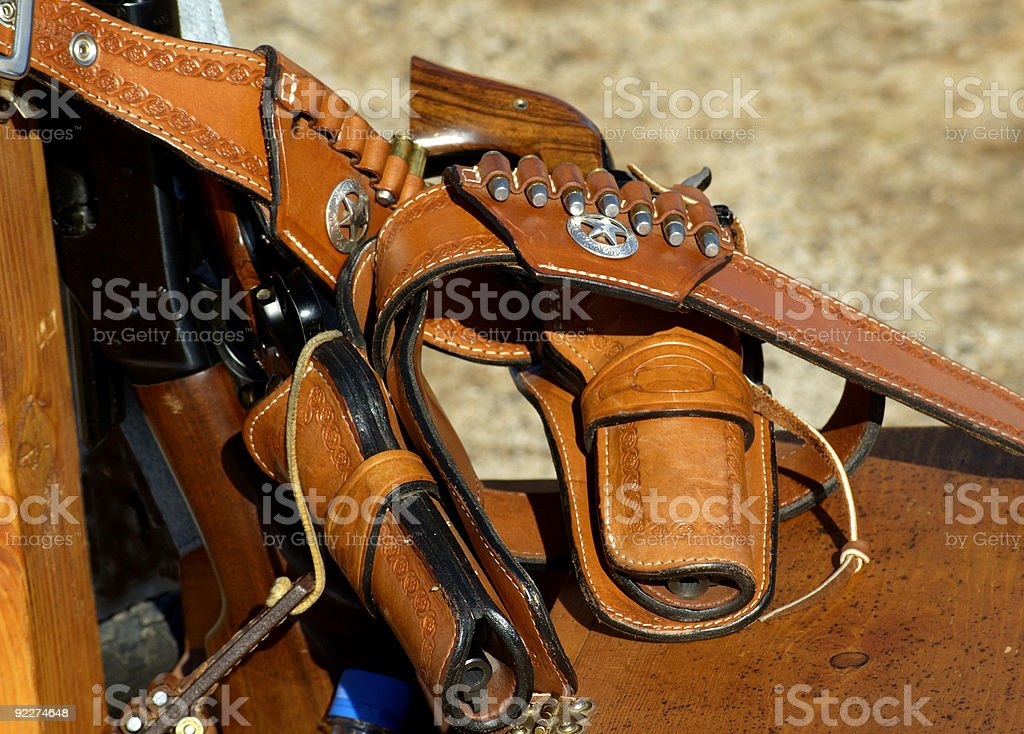 Revolvers in holsters royalty-free stock photo