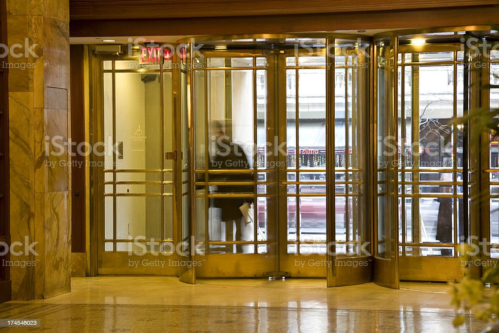 Revolving Brass Doors in Philadelphia Hotel Lobby stock photo