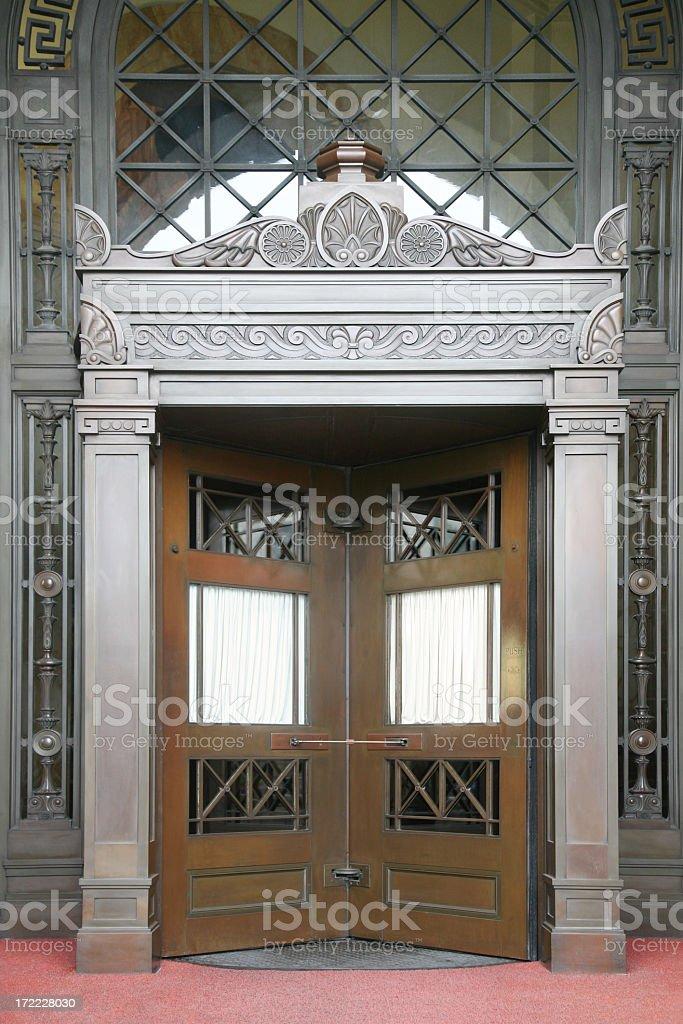 Revolving doors in a fancy building stock photo