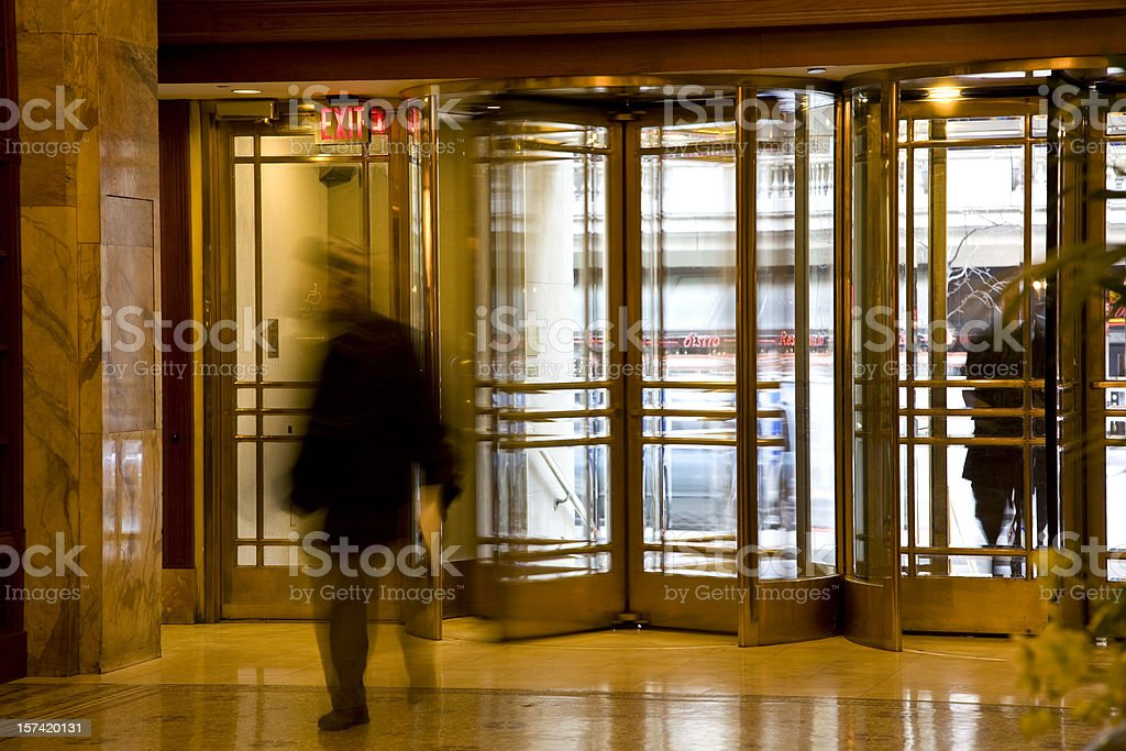 Revolving Doors in Philadelphia Luxury Hotel Reception Lobby stock photo