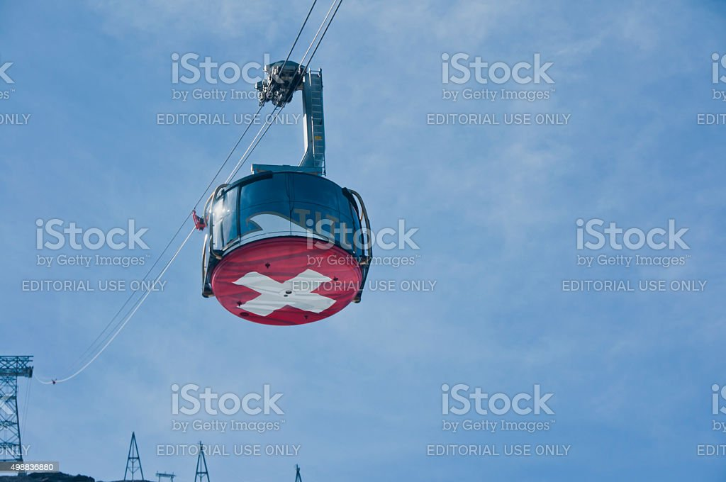 Revolving rotary cableway at Mt. Titlis stock photo