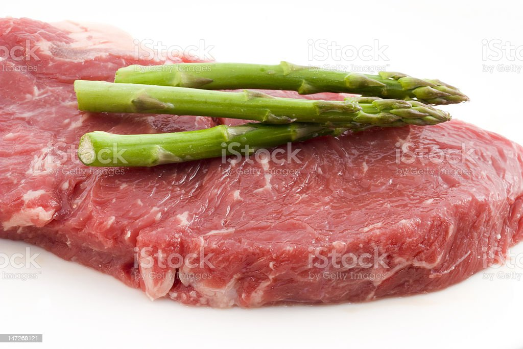 Rew beef and asparagus royalty-free stock photo