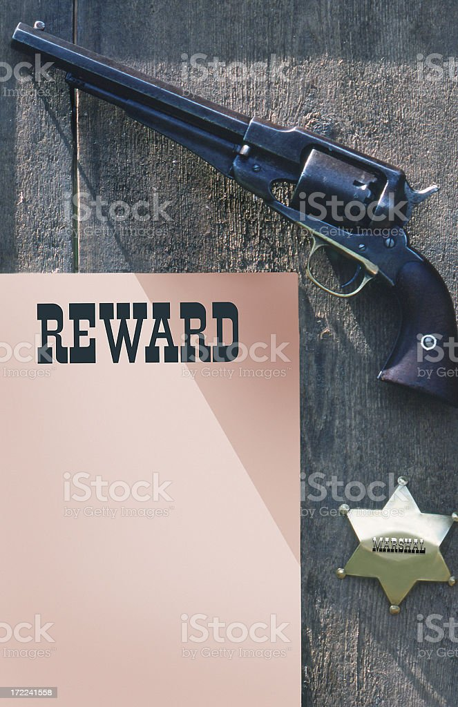 Reward Poster with Western Gun royalty-free stock photo
