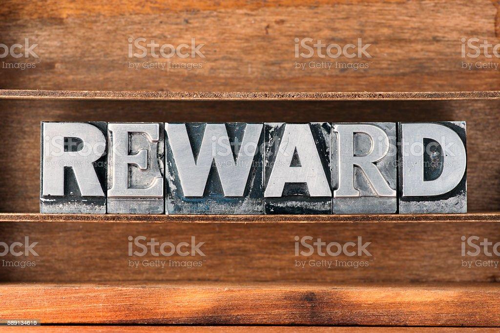 reward word tray stock photo