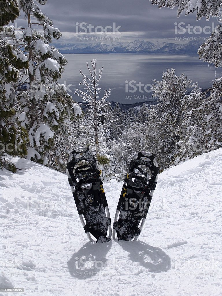 Rewarding Snow Shoes stock photo