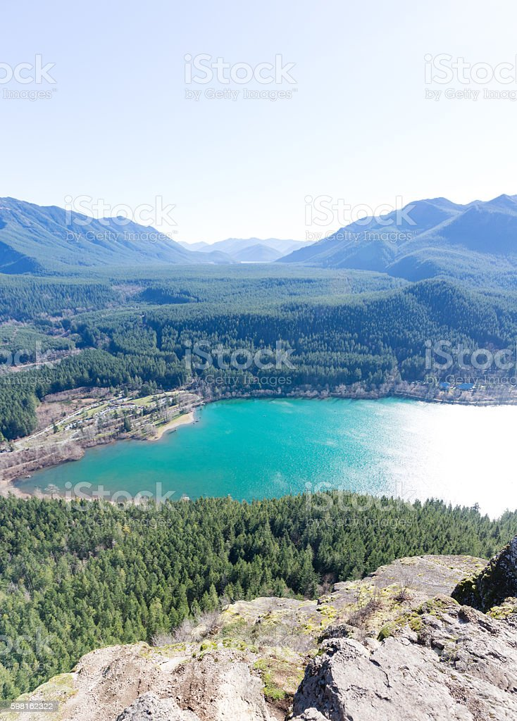 Rewarding View of  Snoqualmie Washington Rattlesnake Ledge Trail stock photo