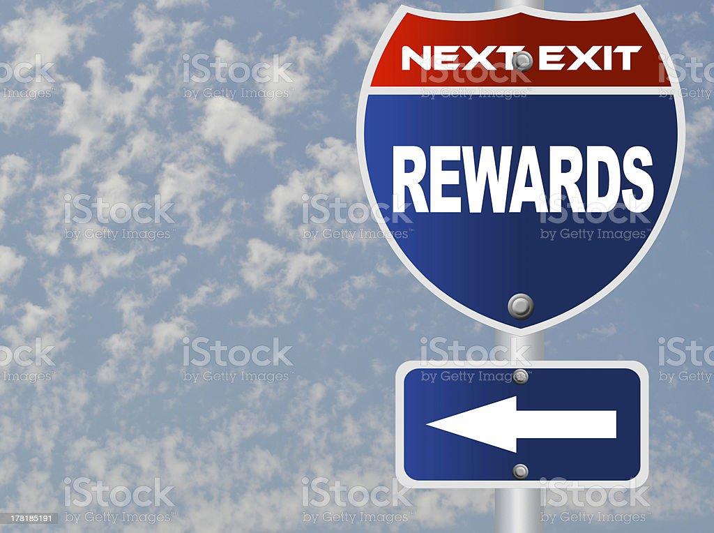 Rewards road sign stock photo