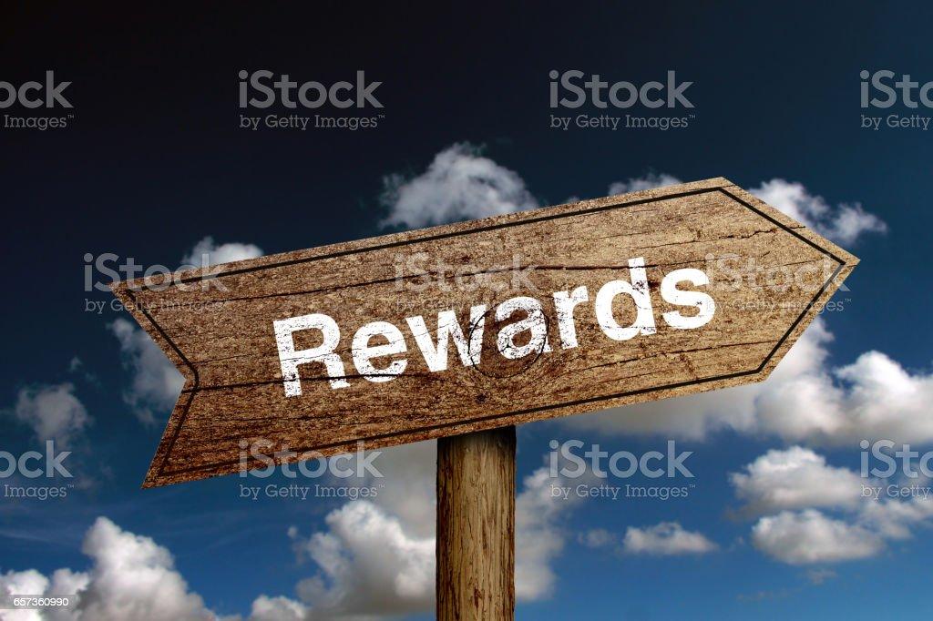 Rewards Text stock photo