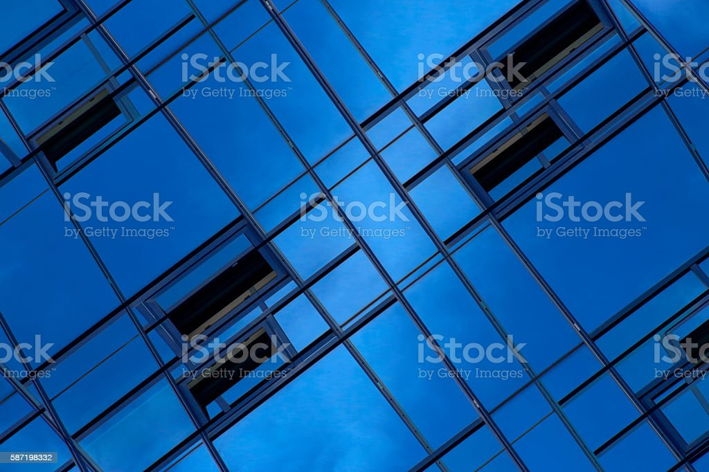 Reworked close-up photo of modern office building stock photo