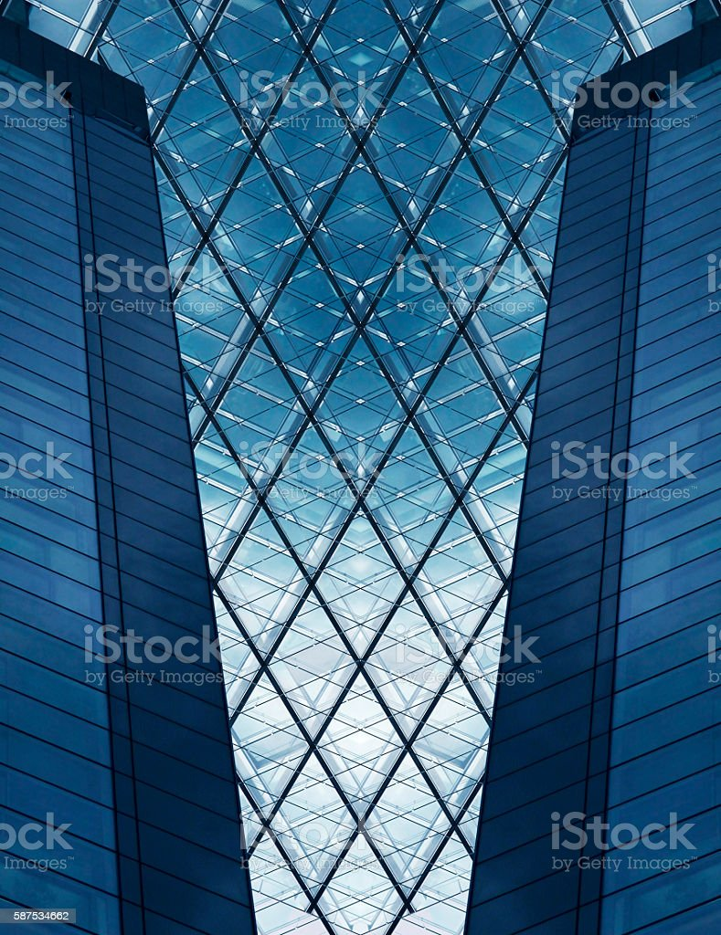 Reworked double exposure photo of office building fragment stock photo