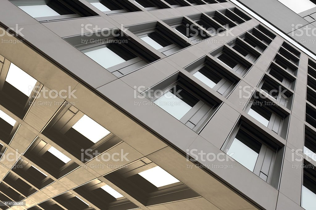 Reworked tilt photo of office building in constructivism style stock photo