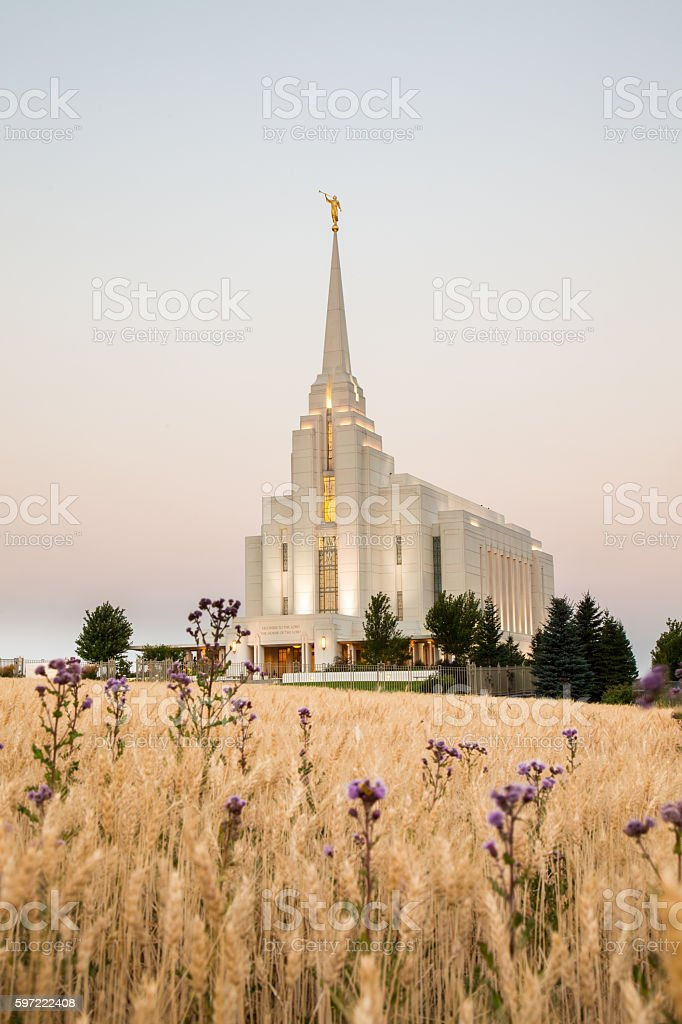 Rexburg Idaho Temple at Sunrise stock photo