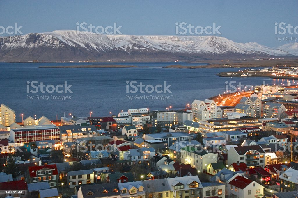 Reykjavic, Iceland, at dusk, viewed from up high royalty-free stock photo