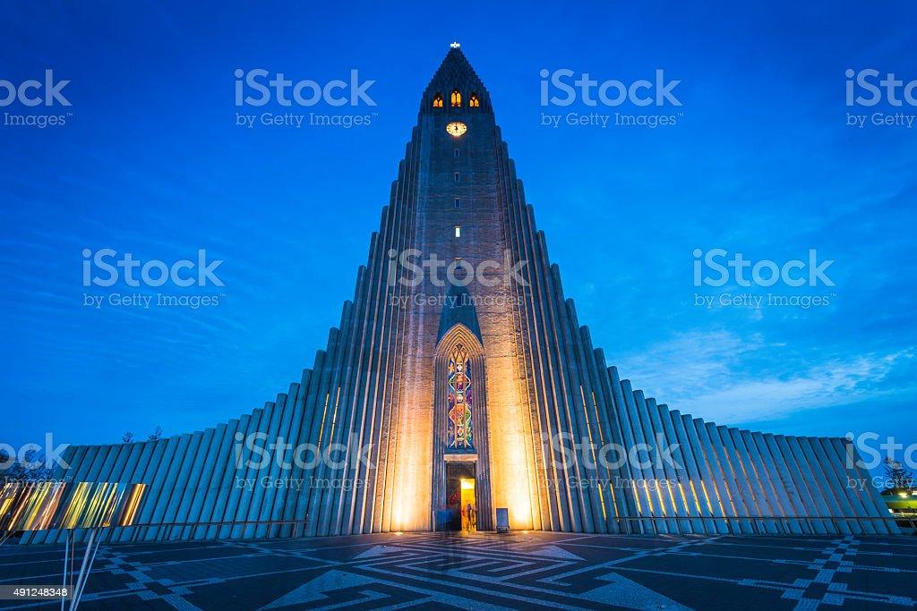 Reykjavik Cathedral Hallgrimskirkja iconic church soaring into dusk sky Iceland stock photo