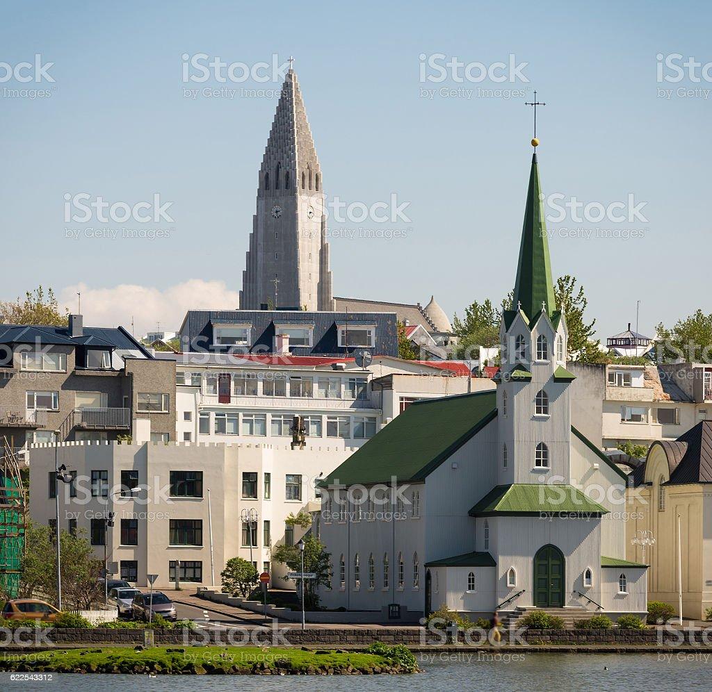 Reykjavik city panorama stock photo