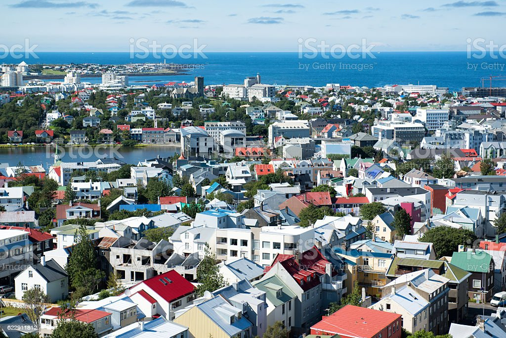 Reykjavik city, view from the top of Hallgrimskirkja Church, Iceland stock photo