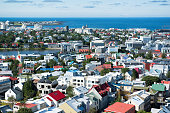 Reykjavik city, view from the top of Hallgrimskirkja Church, Iceland