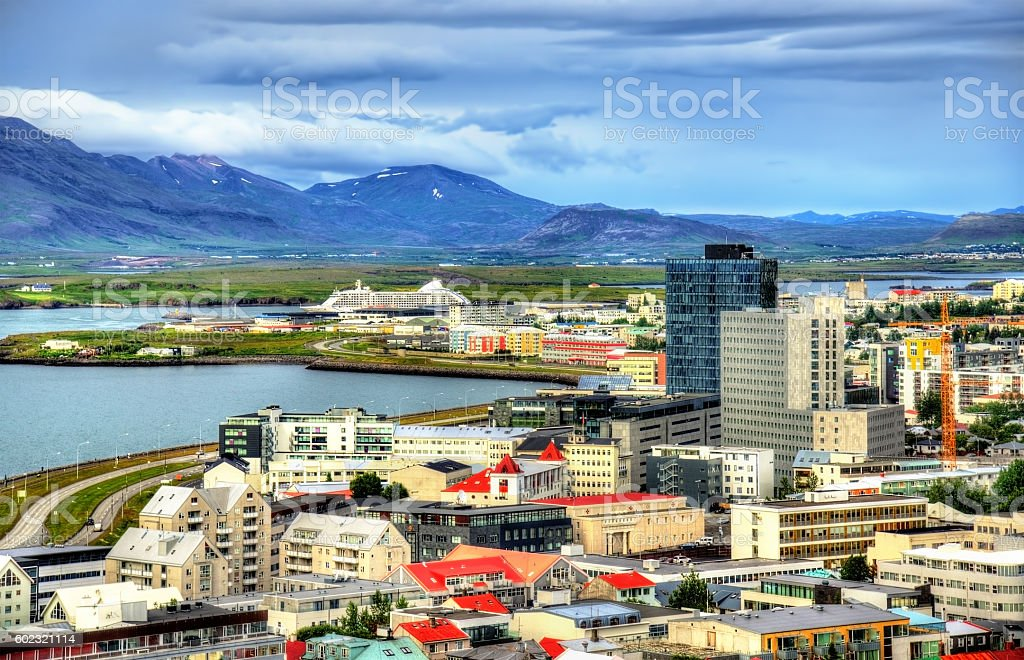 Reykjavik from top of the Hallgrimskirkja church stock photo