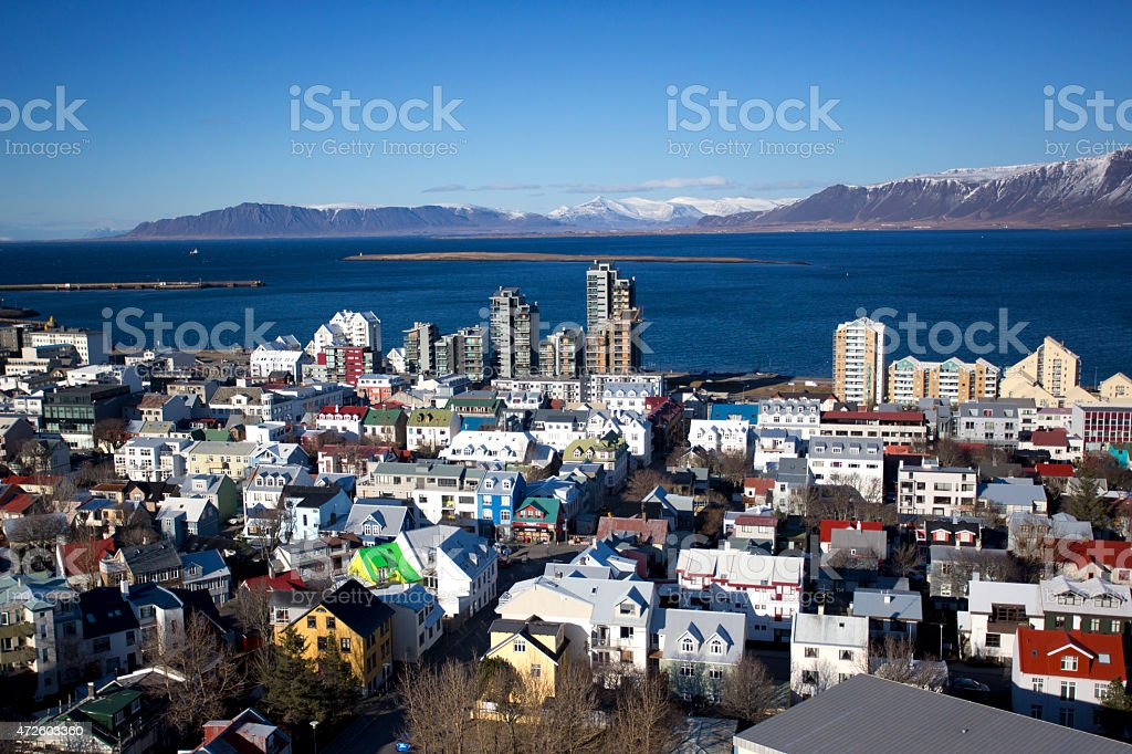 Reykjavik in winter stock photo