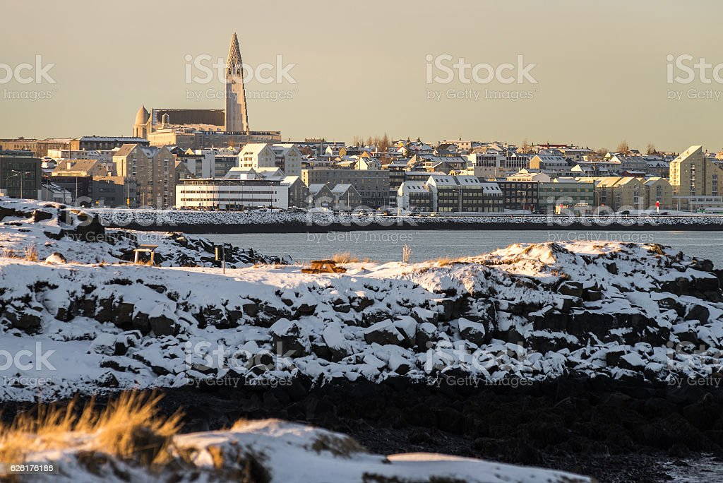 Reykjavik panorama on a winter day stock photo