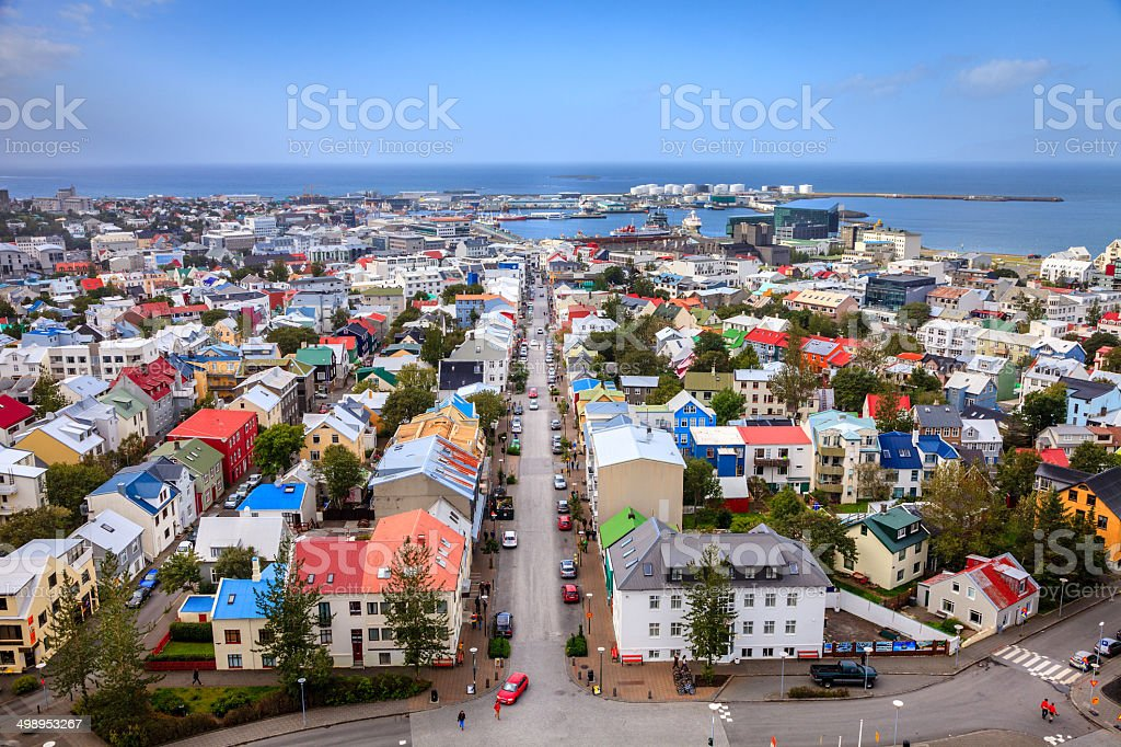 Reykjavik rooftops stock photo