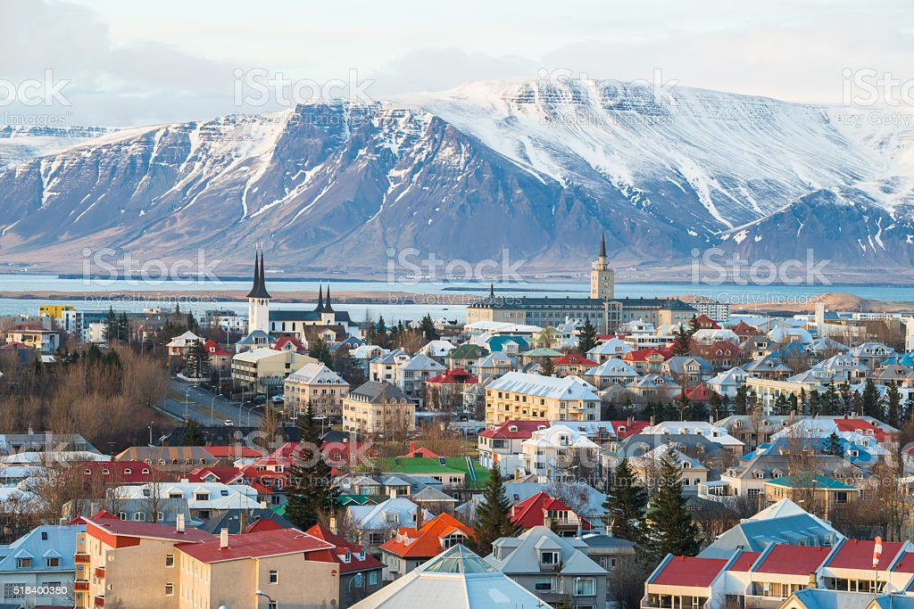 Reykjavik the capital city of Iceland. stock photo
