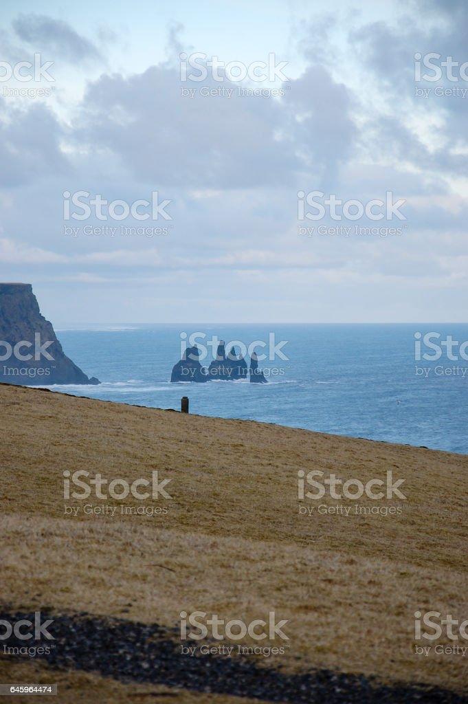 Reynisdrangar, basalt sea stacks, mossy slope, Iceland stock photo