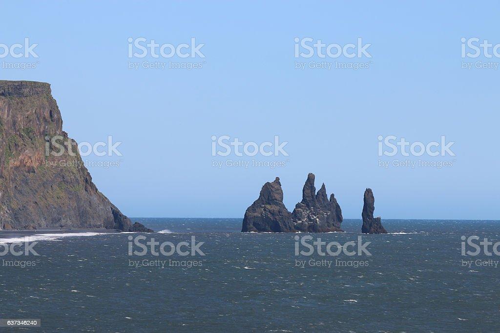 Reynisdrangar Cave at Reynisfjara Beach in Iceland stock photo