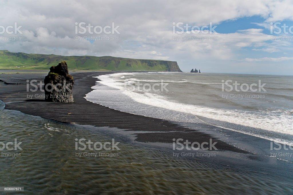 Reynisdrangar from Dyrholaey, Iceland stock photo