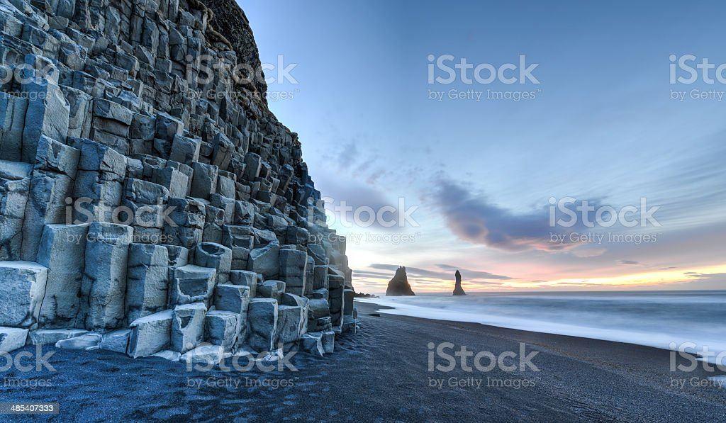 Reynisdrangar on Reynisfjara Beach stock photo