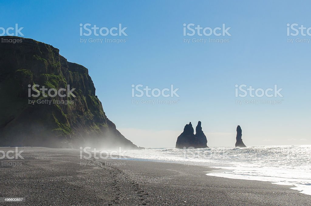 Reynisdrangar rock formations near Vik in southern Iceland stock photo