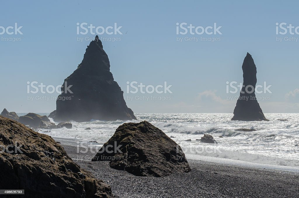 Reynisdrangar rock formations near Vik stock photo