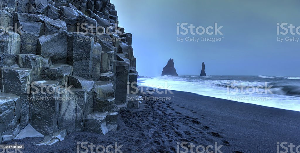 Reynisdrangar rock formations on Reynisfjara Beach stock photo
