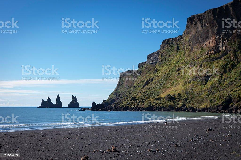 Reynisdrangar rock formations stock photo