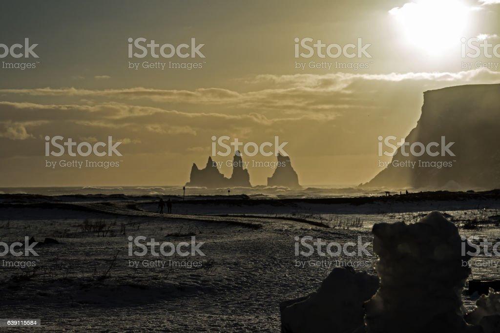 Reynisdrangar stacks, Vik, Iceland stock photo