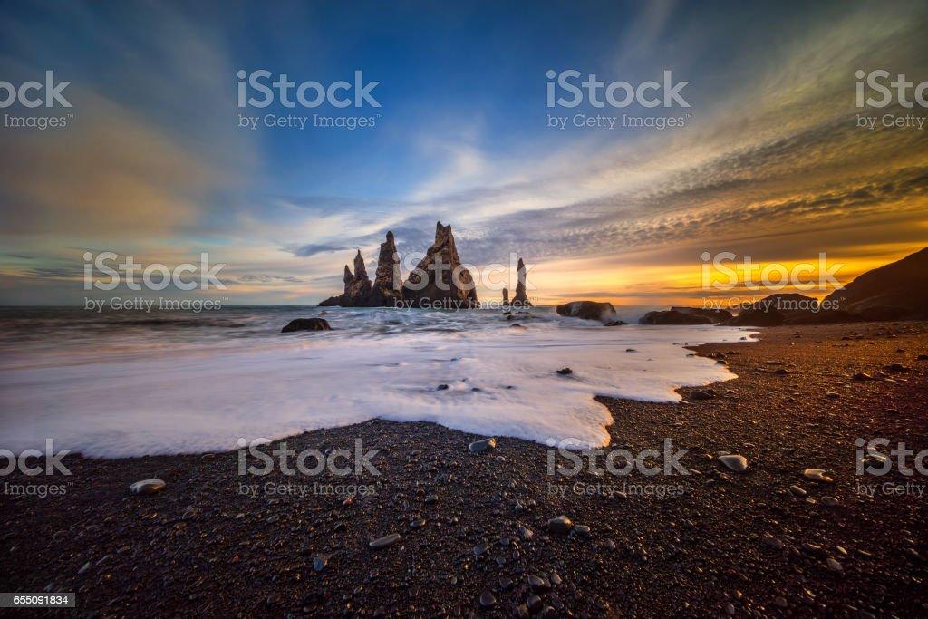 Reynisdrangar sunset stock photo