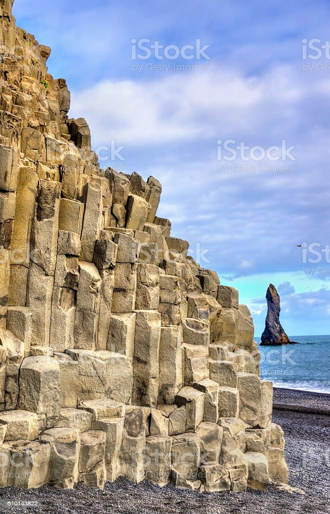 Reynisfjall Mountain at the Black Sand Beach of Reynisfjara - stock photo
