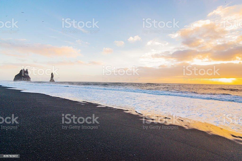 Reynisfjara beach - black sand beach near Vik, Iceland stock photo