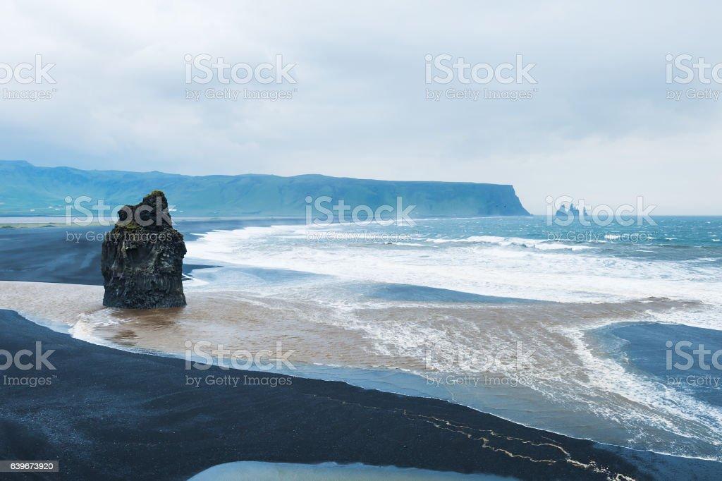 Reynisfjara beach with black volcanic sand, Iceland stock photo