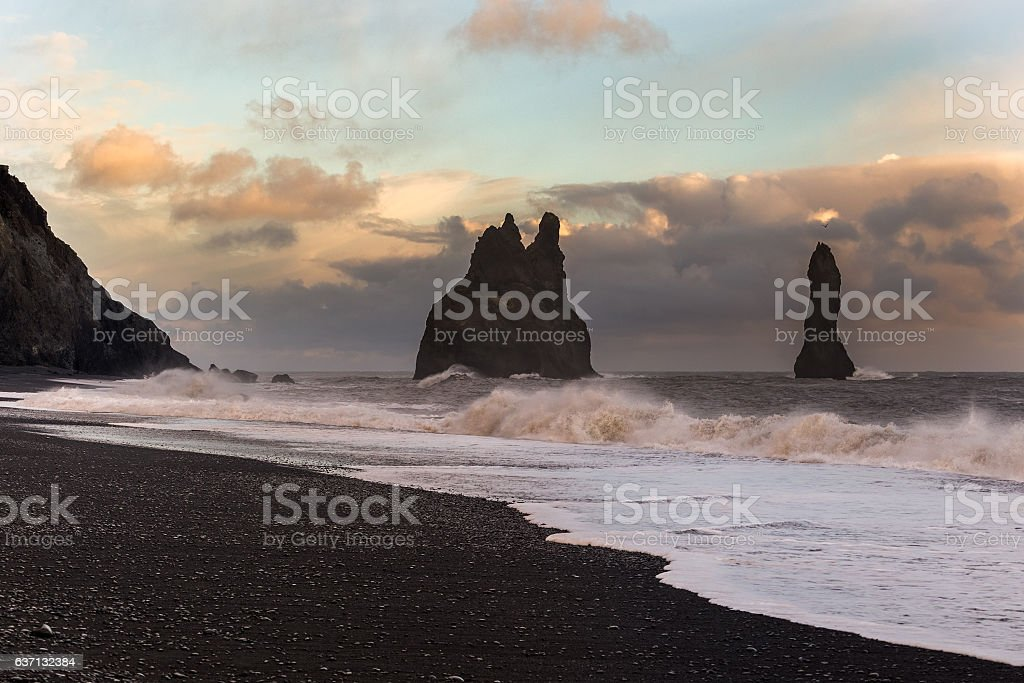 Reynisfjara coast at sunset, Iceland stock photo