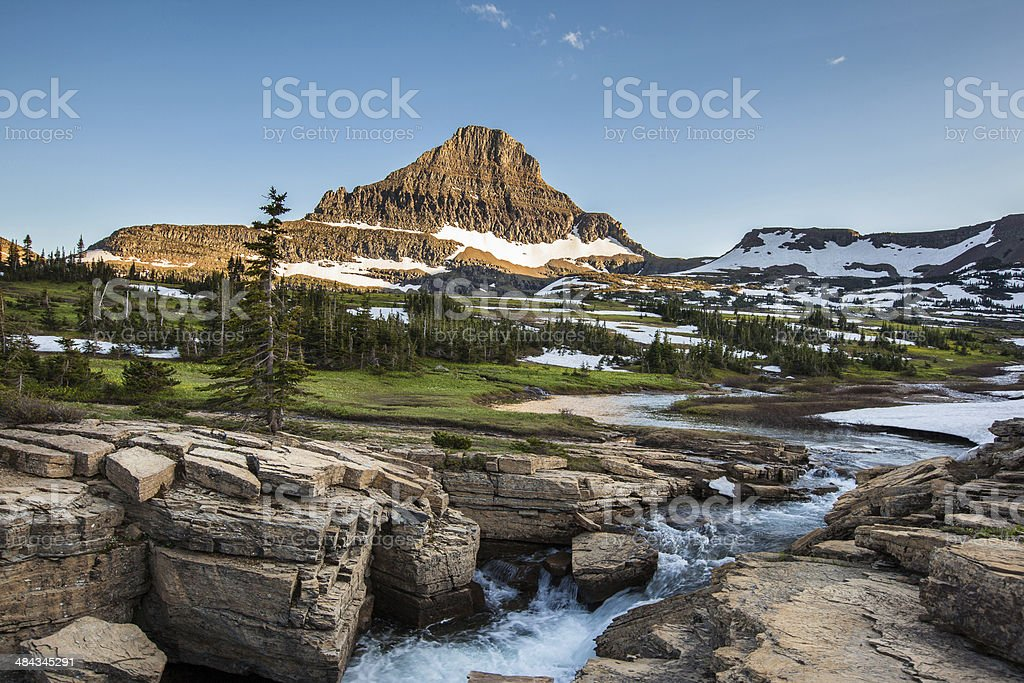 Reynolds Mountain at Logan Pass, Glacier National Park stock photo