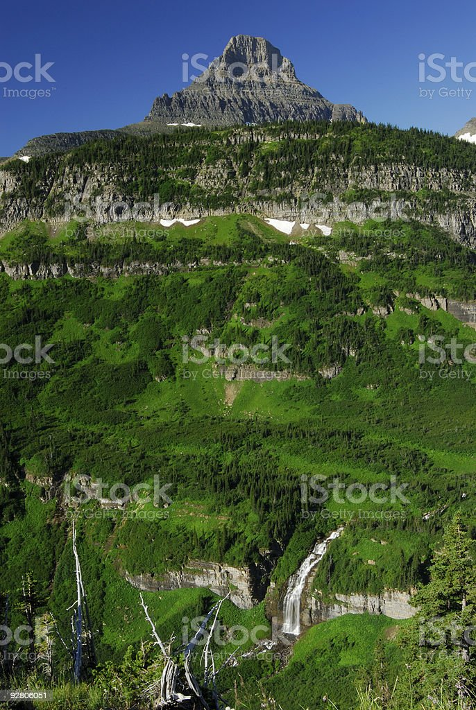 Reynolds Mountain View with Waterfalls royalty-free stock photo