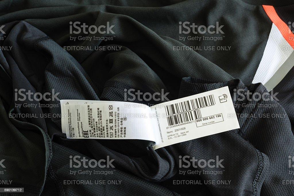 rfid tag on a shirt stock photo