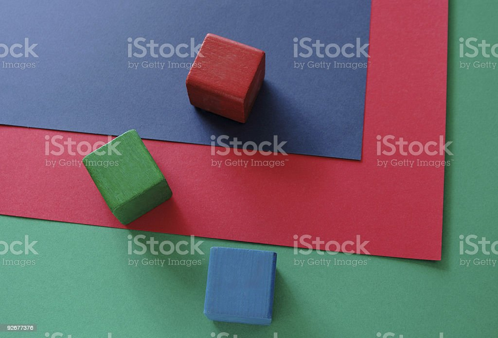 rgb blocks and papers royalty-free stock photo