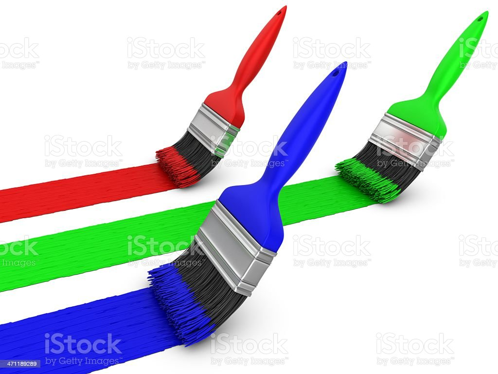 rgb colors paint brushes royalty-free stock photo