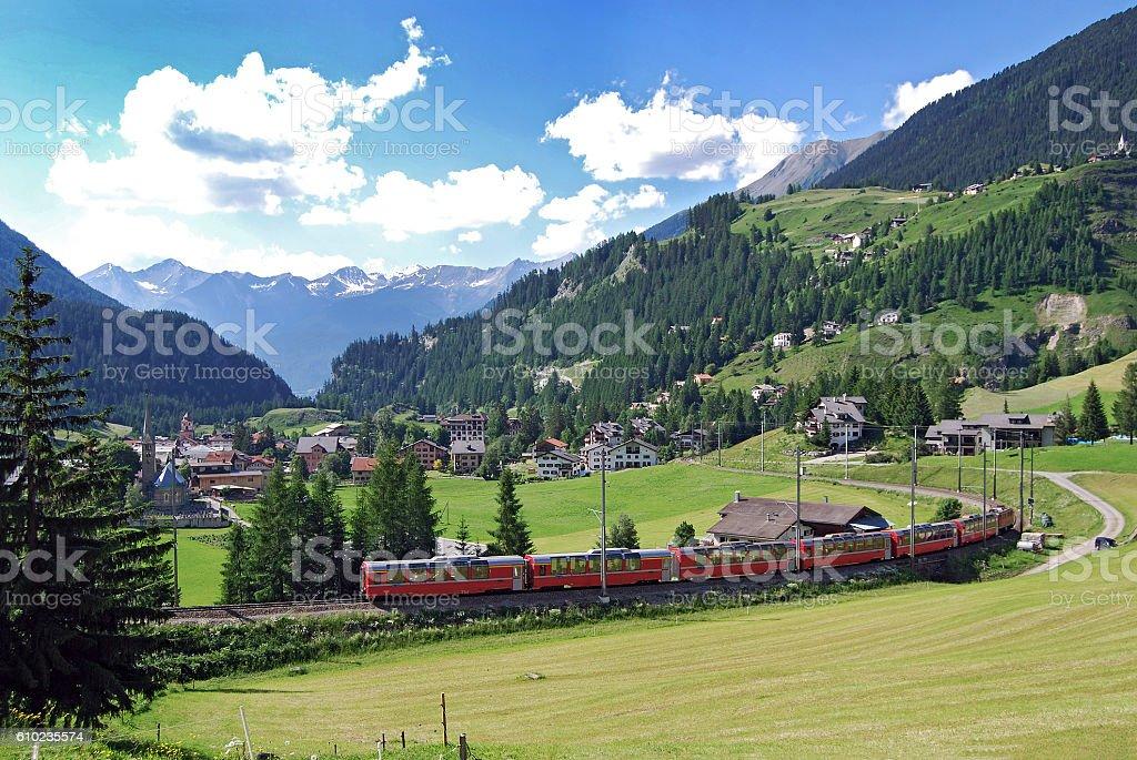 Rhaetian Railway Bernina Express just before Bergün stock photo