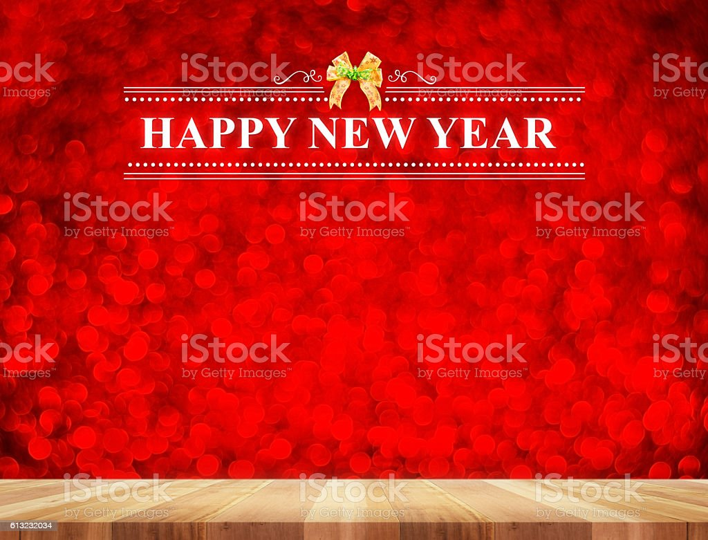 rHappy New Year word in perspective room with red stock photo