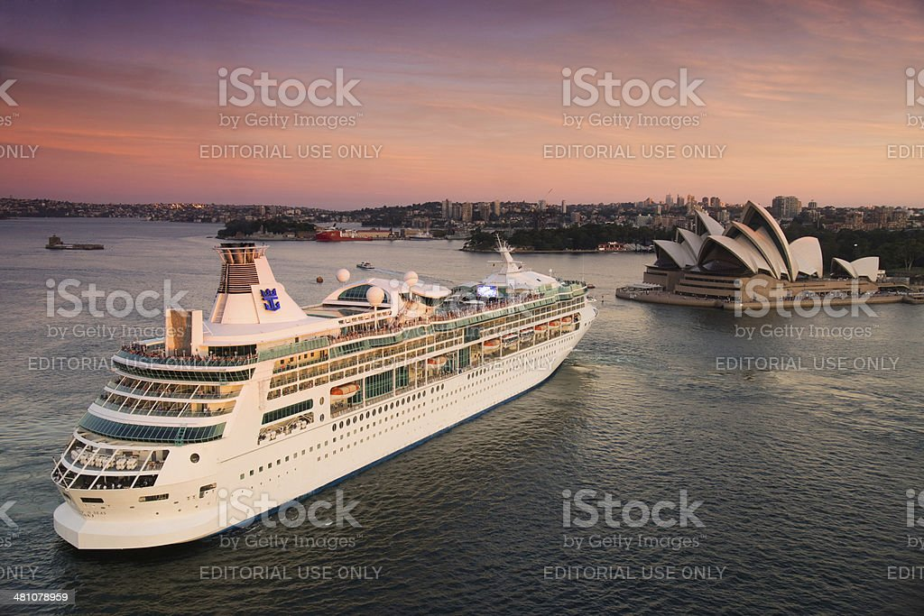 Rhapsody of the Seas leaves Sydney stock photo