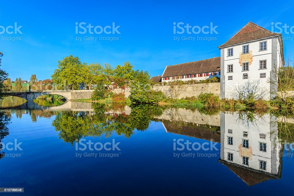 Rheinau Abbey, Rhine River - Switzerland stock photo